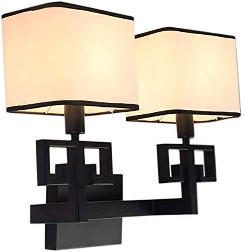 Chinese wandlamp van smeedijzer – woonkamerlamp naast het bed van de slaapkamer, lampen van antiek, creatief, minimalistische stof, keuze uit twee maten (maat: M)