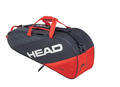 HEAD Elite 6R Combi, Borsa per Racchetta Unisex Adulto, Grigio/Arancia