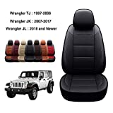 OASIS AUTO Wrangler TJ 2003 2004 2005 2006 Custom Exact Fit PU Leather Seat Covers Accessories Full Set (2003-2006 Wrangler 2DR, Black)