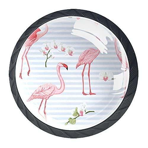 qfkj Tirador de la Perilla del cajón 4 Piezas El cajón del gabinete de Vidrio de Cristal Tira Las perillas del Armario,Patrón De Fondo con Aves Tropicales Flamingo