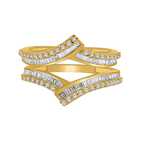 OMEGA JEWELLERY 0.80Cttw Round & Baguette Shape Natural Diamond 14K Yellow Gold Over Enhancer Wrap Guard Ring (6)