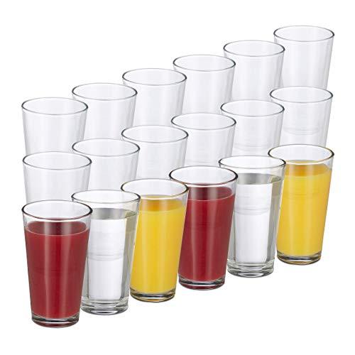 Relaxdays 18er Set Trinkgläser, dickwandige Wassergläser, schlichtes Design, spülmaschinenfest, 500 ml, transparent
