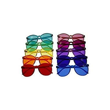 Round Style Color Therapy Glasses - Set of 10 Colors