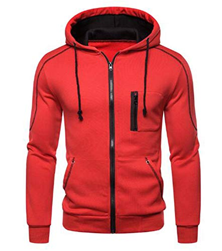 Mr.1991INC&Miss.GO Autumn Men's Casual Sweater Solid Color Cardigan Zipper Fashion Long Sleeve Hoodie Jacket Red