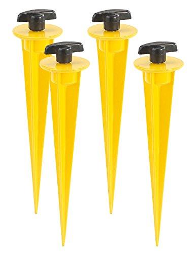 AGT LED-Fluter-Halter: 4er-Set Aluminium-Erdspieße für LED-Fluter, 17 cm, gelb (Garten-Erdspieße für LED-Fluter)