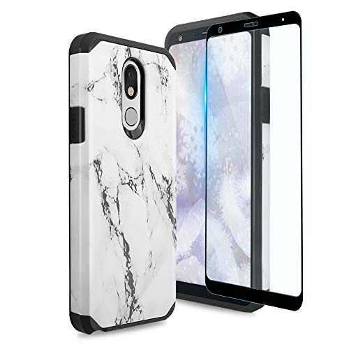 TJS Phone Case Compatible with LG K40/K12 Plus/X4/Solo LTE/Harmony 3/Xpression Plus 2, [Full Coverage Tempered Glass Screen Protector] Dual Layer Hybrid Shockproof Marble Armor (White)