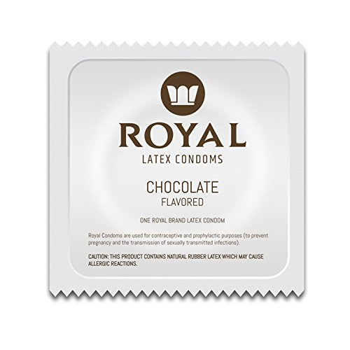 Royal Ultra-Thin Latex Condoms - Chocolate Flavored and Lubricated - Strong, FDA Approved Non-Toxic Latex - All Natural, Organic, Vegan, No Cruelty Contraceptive - Snug Fit, Accurate Sizing - 100 Pack