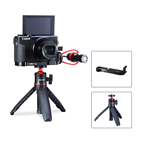 Handheld Vlog Set for Canon G7X Mark III Microphone/Fill Light Extension Bracket w MT-08 Tripod 4.7inch Extendable, Filmmaker Video Shooting Setup