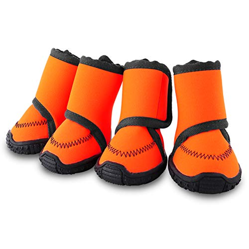 Petbobi Waterproof Dog Shoes Fluorescent Orange Dog Boots Adjustable Straps and Rugged Anti-Slip...