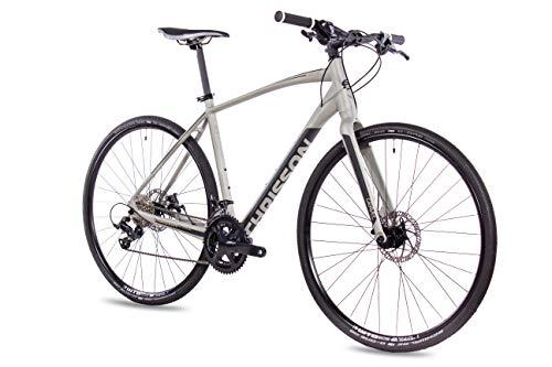 CHRISSON Bicicleta Gravel Urban Two de color antracita, 52 cm, con cambio Shimano Sora de 18 velocidades, para hombre y mujer