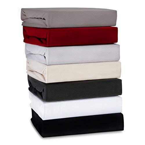 ka-line Luxus Spannbettlaken aus Baumwolle für Boxspringbett und Wasserbett in der Farbe Anthrazit 180x200 cm