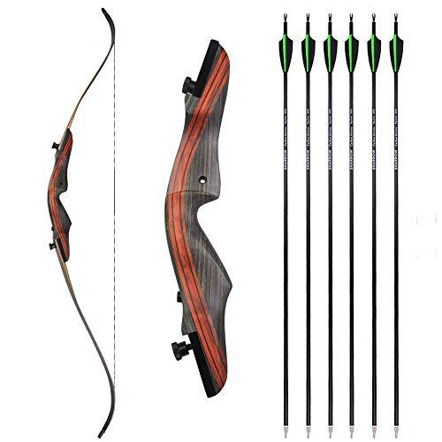 SHARROW 20-50lbs Archery Takedown Recurve Bow and Arrows Set...