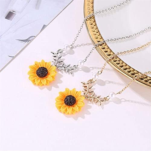Collar para mujeres de color amarillo chapado en oro girasol hoja rama encanto colgante collar largo ofertas de accesorios cadena accesorios cumpleaños regalo joyería conjunto collar,Gold+silver