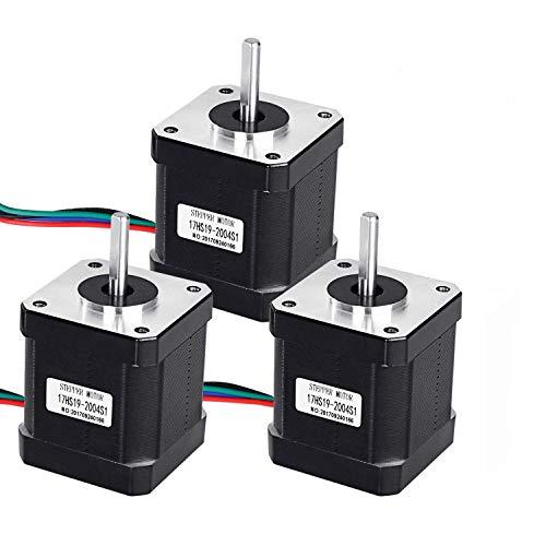 Paquete de 3 motores paso a paso Nema 17, Craft168 2A 59Ncm(82 onzas) Cuerpo 42 Motor con 1 m 4 plomo cable y conector para impresora 3D/máquina CNC
