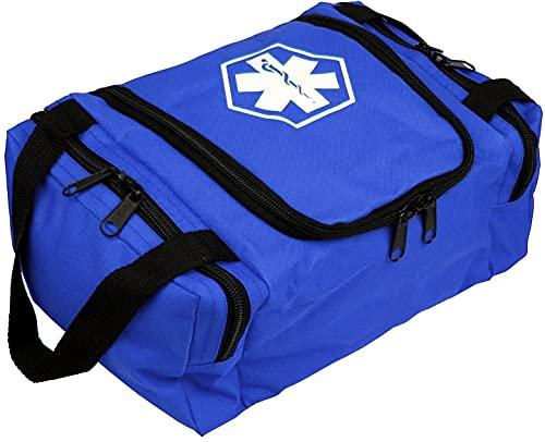 First Aid Responder EMS Emergency Medical Trauma Bag EMT, Fire Fighter, Police Officer, Paramedics, Nurse (Blue)