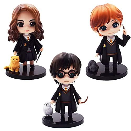 Harry Potter Mini Figuras - Tomicy 3pcs Cake Topper Cake Figuras Decoración Harry Potter Mini Juguetes Baby Shower Fiesta de Cumpleaños Pastel Decoración Suministros