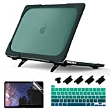 Batianda Heavy Duty Case for MacBook Pro 13 Inch 2020 A2338 M1 A22289 A2251 with Touch Bar, Matte Shockproof Hard Shell Case with Fold Kickstand & Keyboard Cover Skin, Deep Teal