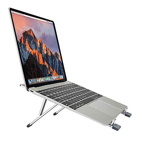 TKOOFN Supporto per Laptop Regolabile, Vassoi di Appoggio in Alluminio Pieghevole Ventilato leggero Portatile Multi-Angolo & Altezza per Notebook, Com