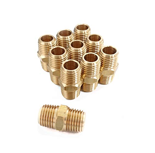 Hex Nipple Coupling Set, 1/4-Inch NPT x 1/4-Inch NPT, Brass Male Pipe (10 Piece)