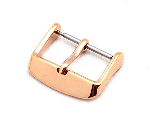 BOB Unisex Dornschließe für Uhrenarmbänder L316 Edelstahl/Titan Modell Klassik 20 mm rosé goldfarben, poliert