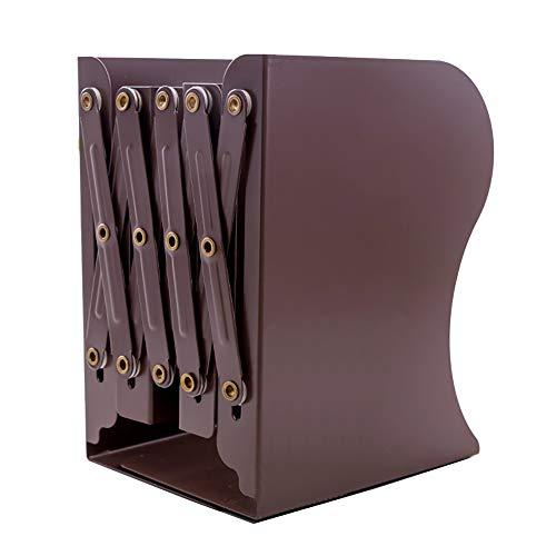 TPOS ブックスタンド 本立て 伸縮自在 多機能 卓上 収納 金属製 シンプル デスク整理 ファイル 雑誌 新聞 書類 スライド 文房具 事務用品 仕切り スタンド 倒れない スライド式 ラック 本 本棚 ブックエンド (ブラウン)