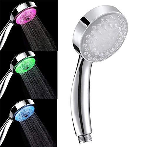 Alcachofa de Ducha 7 Colores LED Cambia Automáticamente Cabezal de Ducha de Alta Presión con Control de Temperatura del Agua con Tecnología de Boquilla de Presión-Impulso - Uverbon