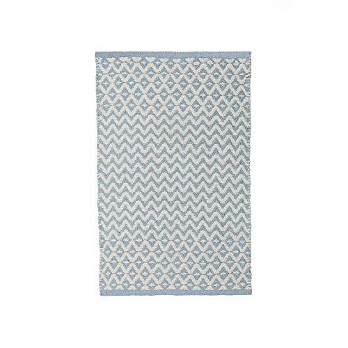 Alfombra Infantil pie de Cama Azul de algodón Natural de 50x80 cm - LOLAhome