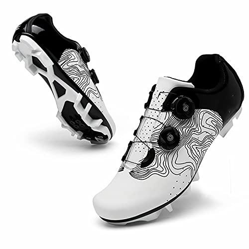 Zapatillas de Ciclismo - Zapatillas de Ciclismo MTB compatibles con calas Transpirables con calas SPD, Zapatillas de Bicicleta de montaña Profesionales con autobloqueo Unisex con Botones giratorios