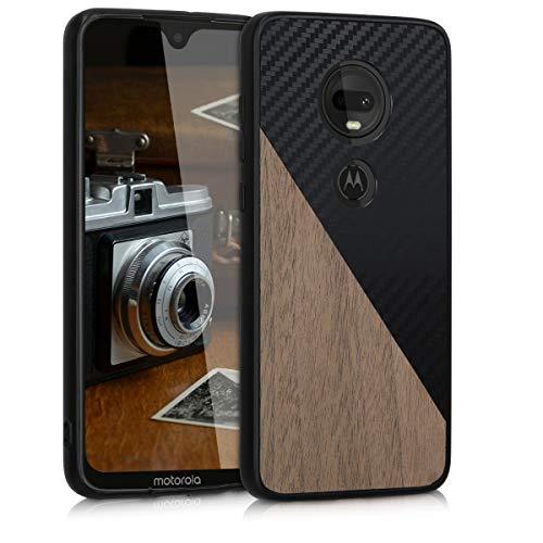 kwmobile Hülle kompatibel mit Motorola Moto G7 / Moto G7 Plus - Handyhülle - Handy Schutzhülle - Smartphone Cover - Schwarz Dunkelbraun