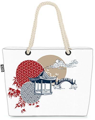VOID Japan Teehaus Strandtasche Shopper 58x38x16cm 23L XXL Einkaufstasche Tasche Reisetasche Beach Bag