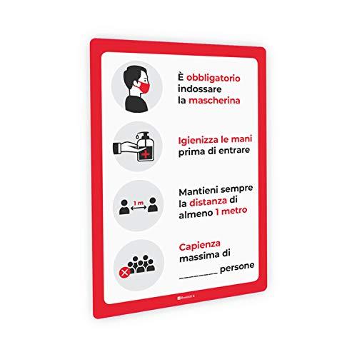 Adesivi e Cartelli Covid-19 Segnaletica con regole per bar e ristorazione, indicazione capienza, adesivo PVC e pannello Forex, bolle (Adesivo PVC lucido, A3 tipologia 5)