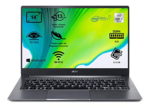 "Acer Swift 3 - Ordenador Portátil ultrafino 14"" FullHD (Intel Core i7-1065G7, 8GB RAM, 512GB SSD, Intel Iris Plus Graphics, Windows 10 Home), Color Gris - Teclado Qwerty Español"