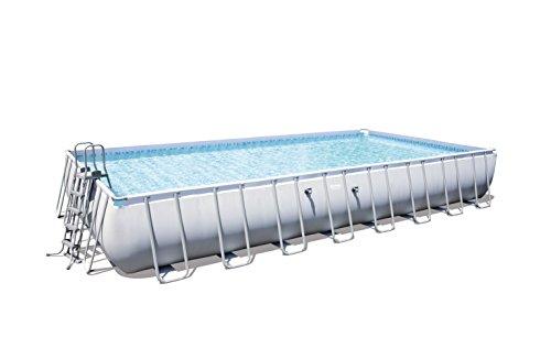 Bestway Power Steel Rechthoekig zwembad met frame, lichtgrijs, zonder pomp, met accessoires, 956x488x132 cm