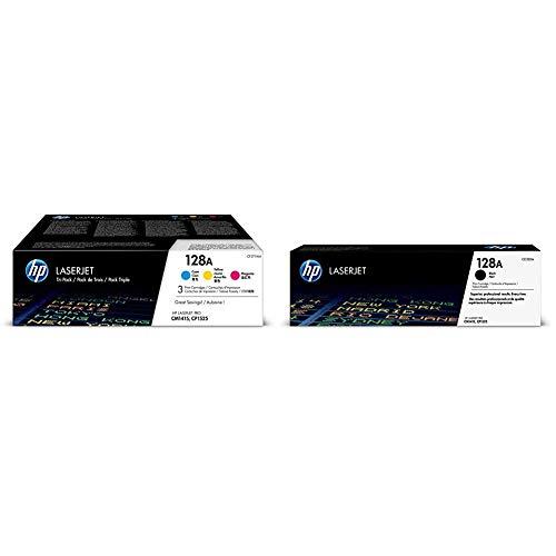 HP 128A 3er-Pack (CF371AM) Blau/Gelb/Rot Original Toner für HP Laserjet Pro CP1525, HP Laserjet Pro M1415 & HP 128A (CE320A) Schwarz Original Toner für HP Laserjet Pro CP1525, HP Laserjet Pro M1415