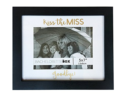 Bachelorette Gift For The Bride - Picture Frame - Kiss the Miss Goodbye, Fits 5x7' photo