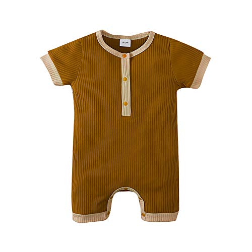 iddolaka Newborn Baby Boy Girl Organic Romper Jumpsuit Playsuit Button One Piece Ribbed Outfit Summer Clothes (A-Khaki, 12-18 Months)