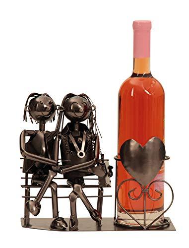Novaliv Flaschenständer Wein I Flaschenhalter Liebespaar Bank 22 cm Metall I Hochzeitsgeschenk Liebespaar Figuren Flaschenständer Weinflaschenhalter