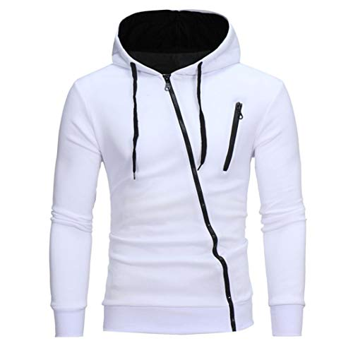 IMJONO Herren Sweatshirt Männer Langarm Hoodie Kapuzen Tops Jacke Mantel Outwear(EU-52/CN-3XL,Weiß)