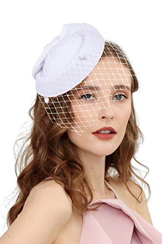Fascinators Hats 20s 50s Hat Pillbox Hat Cocktail Tea Party Headwear with Veil for Girls and Women(C-white)