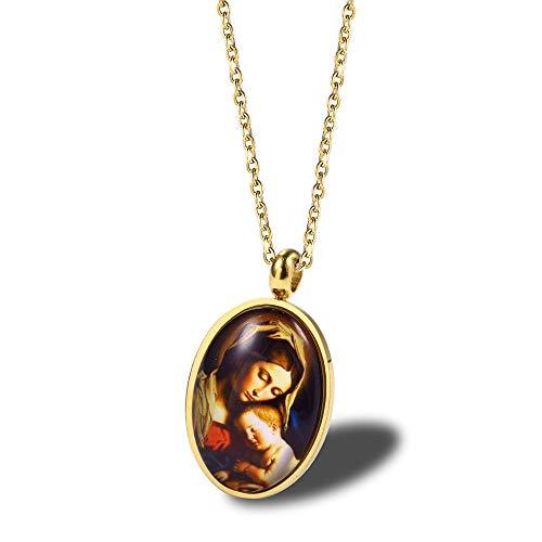 YDMSGSB Anhänger Halskette Jungfrau Maria Schlüsselbein Christus Baby Jesus Glauben Zubehör Weibliche Titanium Stahl Paar Geschenk Schmuck