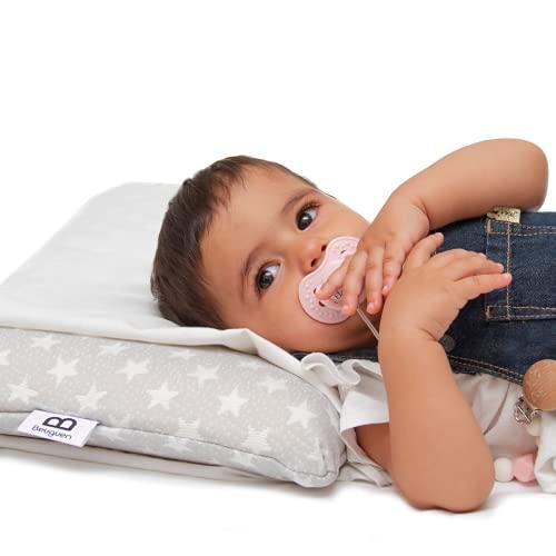 Almohada bebé y niño viscoelástica pequeña de cuna y cama - Cojín relleno para prevenir plagiocefalia - 2 fundas protectoras - Apto para nido, minicuna, maxicuna, antivuelco y capazo de recién nacido