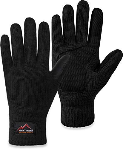 normani Strick Fingerhandschuhe Winterhandschuhe mit 3M™ Thinsulate™ - Silikonhandinnenfläche und Fleeceinnenmaterial für Damen und Herren Farbe Schwarz Größe XL