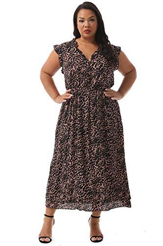 Vintage Brown Floral Dress Deep V Neck Flared Dress M