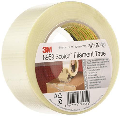 Scotch Filamentklebeband 8959 transparent 50mm x 50m – Kreuzgewebtes Glasfaser Spezialklebeband universell einsetzbar und leistungsstark – 1-er Pack