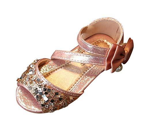 Jimmackey- Scarpe Bambina Eleganti da Cerimonia Scarpe Bambine con Tacco Alto Primavera Scarpe con Paillettes da Ragazza Scarpe Ballerine Sandali Bimba Estive Scarpe Bambini Principessa Sandali