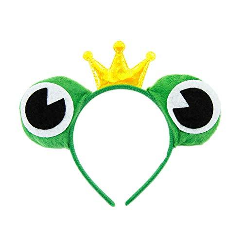 Oblique Unique® Haarreifen Froschkönig Haarreif mit Froschaugen und Krone Kostüm Accessoire für Fasching Karneval Motto Party in Grün Gold