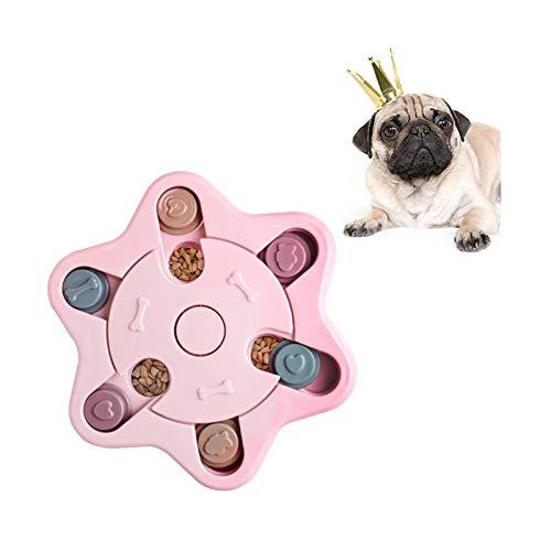 Andiker Dog Puzzle Toy, Treat Dispenser Giocattolo Interattivo per Cani, Dog Training Games Feeder, Ciotola di Alimentazione Lenta per Puppy (Rosa)
