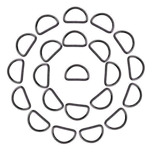 Trimming Shop Anillas D para Cierre Correas, Ajustable Reparación Bolsas, Bricolaje Proyectos, Artes y Manualidades,Mascota Cuellos,10pcs - Gunmetal, 25mm