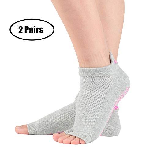 +MD 2 Paar Yoga Socken für Damen rutschfeste Yoga-Socken ohne Zehen mit Griffen für Pilates, Pure Barre, Ballett GreyEU35-38