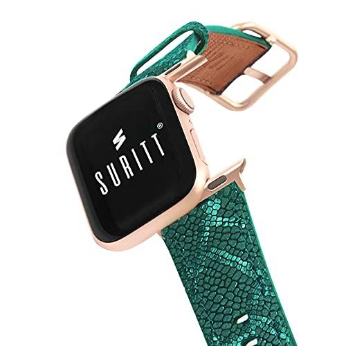 Correa compatible con Apple Watch de Piel Paris. 3 Colores de Hebilla y Adaptador para Elegir (Negro - Plata - Oro) (Series 6, SE, 5, 4, 3).